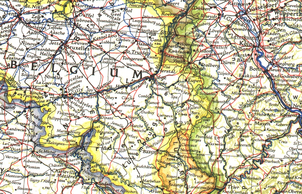 Maps Update 14821504 Germany and Belgium Map Germany And – Topographic Map of Belgium